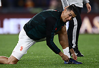 12th January 2020; Stadio Olympico, Rome, Italy; Italian Serie A Football, Roma versus Juventus;  Cristiano Ronaldo of Juventus  pre-game warm up - Editorial Use