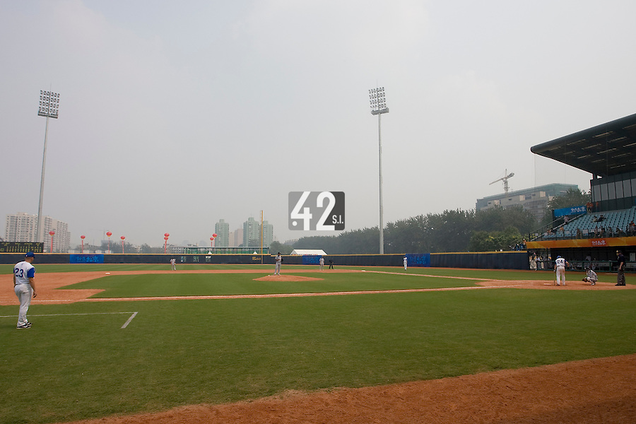 19 August 2007: General view of Wukesong Baseball Field during the Japan 4-3 victory over France in the Good Luck Beijing International baseball tournament (olympic test event) at the Wukesong Baseball Field in Beijing, China.