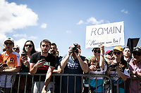fans awaiting Romain Bardet (FRA/AG2R La Mondiale) at the stage start. <br /> <br /> <br /> Stage 9: Saint-Étienne to Brioude (170km)<br /> 106th Tour de France 2019 (2.UWT)<br /> <br /> ©kramon