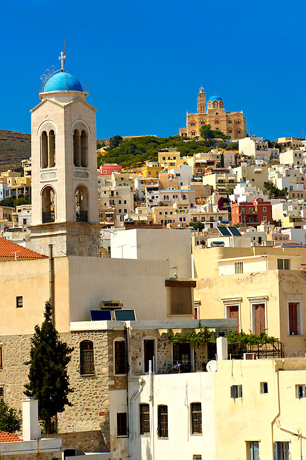 Ermoupolis lookint towards the Greek Orthodox Church of Anastasis built in 1870 on the top of Vrodado Hill, Syros [ ????? ] , Greek Cyclades Islands