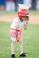 June 21, 2009:  Batavia Muckdogs fans partake in an on field contest during a game at Dwyer Stadium in Batavia, NY.  The Batavia Muckdogs are the NY-Penn League Short Season Class-A affiliate of the St. Louis Cardinals.  Photo by:  Mike Janes/Four Seam Images