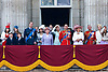 "TROOPING THE COLOUR_Members of the Royal Family watched the flypast by the Royal Air Force..They included the Queen, Prince Philip, Prince Charles, Prince William, Prince Andrew, Prince Edward, Camilla Duchess of Cornwall, Princess Anne, Princess Eugenie, Princess Beatrice, Prince Michael of Kent, Princess Michael of Kent, Duke of Kent, Sophie Countess of Wessex..Soldiers of the Household Division paraded today to mark the Queen's Official Birthday on Horse Guards Parade at the ceremony known as Trooping the Colour..The Colour trooped in the presence of Her Majesty The Queen, was the new Colour of the 1st Battalion Grenadier Guards, which was presented by Her Majesty on 12th May..The parade consisited of 1400 Soldiers in the traditional uniforms of the Household Cavalry, Royal Horse Artillery, and Foot Guards, over 200 horses and about 400 musicians from ten bands & corps of drums..The Duke of Edinburgh and the Royal Colonels (Prince Charles, The Princess Royal, and The Duke of Kent) were also at the parade..Photo Credit: ©Dias/Newspix International..**ALL FEES PAYABLE TO: ""NEWSPIX INTERNATIONAL""**..PHOTO CREDIT MANDATORY!!: NEWSPIX INTERNATIONAL..IMMEDIATE CONFIRMATION OF USAGE REQUIRED:.Newspix International, 31 Chinnery Hill, Bishop's Stortford, ENGLAND CM23 3PS.Tel:+441279 324672  ; Fax: +441279656877.Mobile:  0777568 1153.e-mail: info@newspixinternational.co.uk"