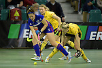 GER - Muelheim an der Ruhr, Germany, February 04: During the FinalFour semi-final women hockey match between Harvestehuder THC (yellow) and Mannheimer HC (blue) on February 4, 2017 at innogy Sporthalle in Muelheim an der Ruhr, Germany. Final score 4-2 (HT 1-2). (Photo by Dirk Markgraf / www.265-images.com) *** Local caption *** Sonja Zimmermann #11 of Mannheimer HC