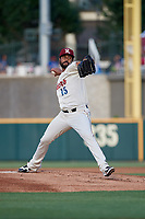 Frisco RoughRiders pitcher Pedro Payano (15) during a Texas League game against the Amarillo Sod Poodles on May 17, 2019 at Dr Pepper Ballpark in Frisco, Texas.  (Mike Augustin/Four Seam Images)