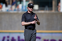 Umpire Darius Ghani during a Texas League game between the Amarillo Sod Poodles and Frisco RoughRiders on May 19, 2019 at Dr Pepper Ballpark in Frisco, Texas.  (Mike Augustin/Four Seam Images)