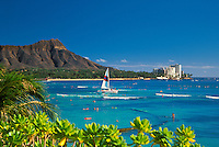 Beautiful Diamond Head is one of Hawaii's most recognizable landmarks. Oahu.