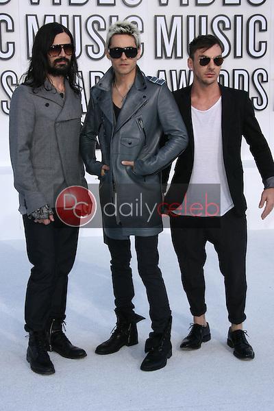 Tomo Milicevic, Jared Leto, Shannon Leto<br /> at the 2010 MTV Video Music Awards, Nokia Theatre L.A. LIVE, Los Angeles, CA. 08-12-10<br /> David Edwards/Dailyceleb.com 818-249-4998