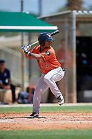 GCL Astros Sean Mendoza (3) at bat during a Gulf Coast League game against the GCL Marlins on August 8, 2019 at the Roger Dean Chevrolet Stadium Complex in Jupiter, Florida.  GCL Astros defeated GCL Marlins 4-2.  (Mike Janes/Four Seam Images)
