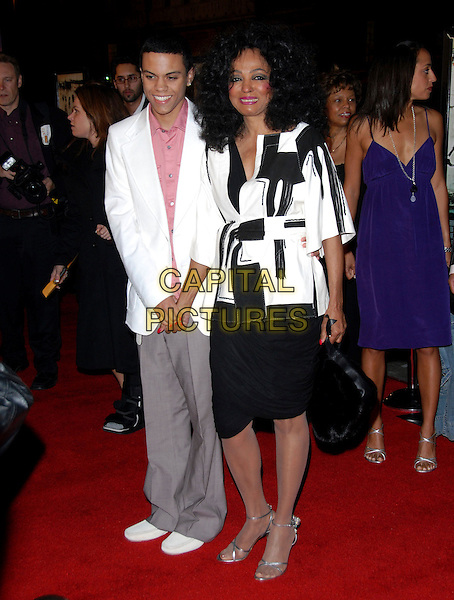 "EVAN ROSS & DIANA ROSS.L.A. Premiere of ""ATL"" held at The Grauman's Chinese Theatre in Hollywood,California on .March 30th, 2006.Ref: DVS.full length white suit jacket mother son family black pattern bag skirt grey gray.www.capitalpictures.com.sales@capitalpictures.com.Supplied By Capital PIctures"