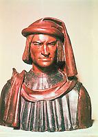 Renaissance Art:  Verrocchio, 1435-88.  Lorenzo de' Medici, 1485.  National Gallery, Washington.  Reference only.