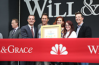 02 August 2017 - Universal City, California.  Sean Hayes, Debra Messing, Megan Mullally, Eric McCormack, Eric Garcetti. 'Will & Grace' start of production kick off event and ribbon cutting ceremony at Universal Studios Photo Credit: PMA/AdMedia