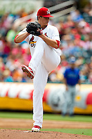 Kevin Thomas (35) of the Springfield Cardinals delivers a pitch during a game against the Tulsa Drillers at Hammons Field on June 27, 2011 in Springfield, Missouri. (David Welker / Four Seam Images)