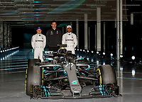 Valtteri Bottas of Mercedes-AMG Petronas Motorsport, Toto Wolff (Team Principal & CEO) of Mercedes-AMG Petronas Motorsport and Lewis Hamilton of Mercedes-AMG Petronas Motorsport during Mercedes-AMG F1 W09 EQ Power+ 2018 F1 Car Launch at Silverstone, England on<br /> 22 February 2018. Photo by Vince  Mignott.