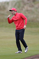 Spencer Matthews celebrates his shot to the 6th during the Hero Pro-am at the Betfred British Masters, Hillside Golf Club, Lancashire, England. 08/05/2019.<br /> Picture David Kissman / Golffile.ie<br /> <br /> All photo usage must carry mandatory copyright credit (© Golffile | David Kissman)