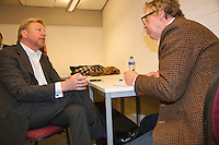 09-02-13, Tennis, Rotterdam, qualification ABNAMROWTT, Boris Becker being interviewd bij Jon Visbeen