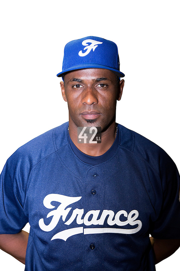 18 September 2012: Sneideer Santos poses prior to Team France practice, at the 2012 World Baseball Classic Qualifier round, in Jupiter, Florida, USA.