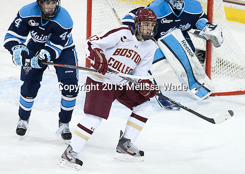 Conor Riley (Maine - 44), Johnny Gaudreau (BC - 13) - The visiting University of Maine Black Bears defeated the Boston College Eagles 4-1 (EN) on Friday, January 25, 2013, at Kelley Rink in Conte Forum in Chestnut Hill, Massachusetts.
