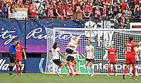 Portland, OR - Sunday Oct. 02, 2016: Samantha Mewis celebrates scoring, McCall Zerboni during a National Women's Soccer League (NWSL) semi-finals match between the Portland Thorns FC and the Western New York Flash at Providence Park.