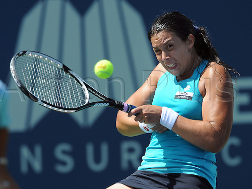 22.07.2012. La Costa, California, USA.   Marion Bartoli (FRA) during a finals match against Dominika Cibulkova (SVK) during the Mercury Insurance Open played at the La Costa Resort and Spa.