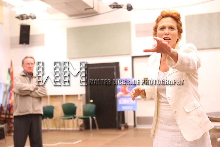 Actor George Hearn and actress Carolee Carmello performing at the rehearsal presentation for 'Scandalous The Musical' at the New 42nd Street Studios on Monday, Sept. 24, 2012 in New York.