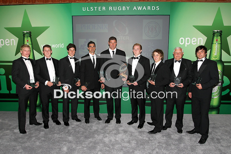 The Heineken Ulster Rugby Award winners Nevin Spence, Craig Gilroy, Adam D'Arcy, Ruan Pienaar, Johann Muller, Conall Doherty, John Creighton, Ronnie Clements, Paul Pritchard after the presentation Dinner at the Culloden Hotel, Belfast.<br /> Picture Credit - John Dickson - www.dicksondigital.com