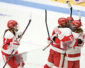 Kathryn Miller (BU - 4), Kaleigh Fratkin (BU - 13), Marie-Philip Poulin (BU - 29), Jenelle Kohanchuk (BU - 19) - The Boston University Terriers defeated the visiting Harvard University Crimson 2-1 on Sunday, November 18, 2012, at Walter Brown Arena in Boston, Massachusetts.