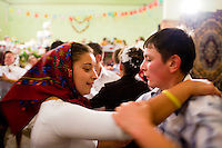 ROMANIA / Maramures / Budesti / 03.09.2006 ..All night folk dancing at a wedding celebration in one of the most traditional villages left in Europe. ..© Davin Ellicson / Anzenberger