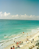 MEXICO, Maya Riviera, people swimming in the Caribbean Sea at the Tulum Ruins