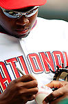 28 August 2005: Tony Blanco, outfielder for the Washington Nationals, signs some autographs prior to a game against the St. Louis Cardinals. The Cardinals defeated the Nationals 6-0 at RFK Stadium in Washington, DC. Mandatory Photo Credit: Ed Wolfstein.