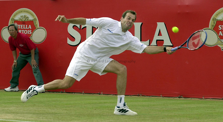 Photo:Ken Brown .11/06/2001. .Stella Artois Championship 2001 .Greg Rusedski in his defeat by Lleyton Hewitt