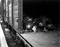 At the doorway of this railroad car may be seen the bodies of 3 political prisoners, shot as they tried to flee massacre at Seeshaupt.  All prisoners on train were killed by machine guns at the hands of SS troops.  Germany, May 1, 1945.  T4c. Albert Gretz.  (Army)<br /> NARA FILE #:  111-SC-205480<br /> WAR & CONFLICT BOOK #:  1116