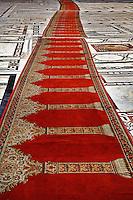 Prayer rugs leading into Islamic mosque, Cairo, Egypt