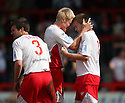 Goalscorer Joel Byrom of Stevenage Borough (r) is congratulated by Mark Roberts after scoring the first goal during the Blue Square Premier match between Stevenage Borough and Forest Green Rovers at the Lamex Stadium, Broadhall Way, Stevenage on Saturday 10th April, 2010 ..© Kevin Coleman 2010