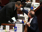 Nevada Lt. Gov. Mark Hutchison, right, talks with Senate Minority Leader Aaron Ford, D-Las Vegas, on the Senate floor at the Legislative Building in Carson City, Nev., on Wednesday, April 8, 2015.  <br /> Photo by Cathleen Allison
