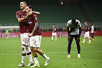 Davide Calabria of AC Milan celebrates with Rade Krunic after scoring a goal during the Serie A football match between AC Milan and Bologna FC at stadio Giuseppe Meazza in Milano ( Italy ), July 18th, 2020. Play resumes behind closed doors following the outbreak of the coronavirus disease. <br /> Photo Image Sport / Insidefoto