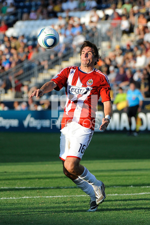 Alan Gordon (16) of CD Chivas USA. The Philadelphia Union defeated CD Chivas USA 3-0 during a Major League Soccer (MLS) match at PPL Park in Chester, PA, on September 25, 2010.