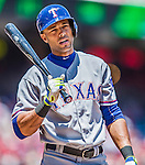 31 May 2014: Texas Rangers outfielder Alex Rios in action against the Washington Nationals at Nationals Park in Washington, DC. The Nationals defeated the Rangers 10-2, notching a second win of their 3-game inter-league series. Mandatory Credit: Ed Wolfstein Photo *** RAW (NEF) Image File Available ***