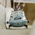 8 January 2016: Christina Hengster, piloting her 2-man bobsled for Austria, enters the Chicane straightaway on her first run, ending the day with a combined 2-run time of 1:54.30 and earning a 3rd place finish at the BMW IBSF World Cup Championships at the Olympic Sports Track in Lake Placid, New York, USA. Mandatory Credit: Ed Wolfstein Photo *** RAW (NEF) Image File Available ***