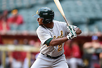 Oakland Athletics shortstop Jesus Lopez (2) during an Instructional League game against the Arizona Diamondbacks on October 10, 2014 at Chase Field in Phoenix, Arizona.  (Mike Janes/Four Seam Images)