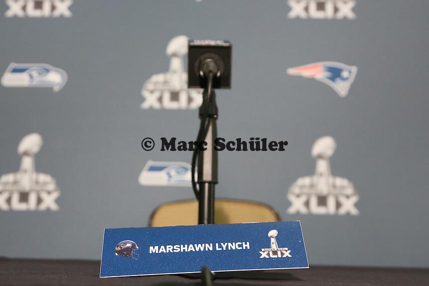 Verwaister Interviewplatz von Marshawn Lynch (Seahawks)- Super Bowl XLIX Seattle Seahakws Team-PK, Arizona Grand Hotel