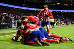 Players of Atletico de Madrid celebrate during the La Liga 2017-18 match between Atletico de Madrid and Valencia CF at Wanda Metropolitano on February 04 2018 in Madrid, Spain. Photo by Diego Souto / Power Sport Images