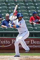 Round Rock Express outfielder Yangervis Solarte #26 at bat during the Pacific Coast League baseball game against the Memphis Redbirds on May 6, 2012 at The Dell Diamond in Round Rock, Texas. The Express defeated the Redbirds 5-1. (Andrew Woolley/Four Seam Images)