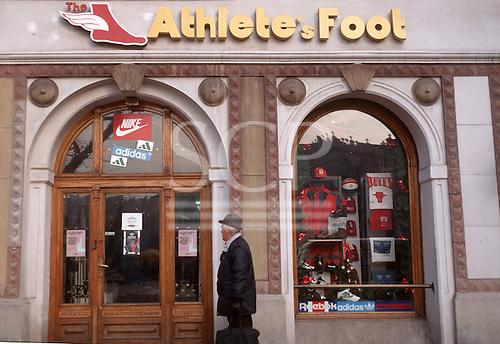 Krakow, Poland. Athlete's Foot sportswear shop.