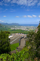 The Pali Lookout provides one of Hawaii's most popular panoramic views of the Koolau mountains and scenic windward Oahu.  A must see for any visitor.