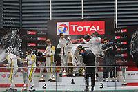 #20 GPX RACING (UAE) PORSCHE 911 GT3 R KEVIN ESTRE (FRA) MICHAEL CHRISTENSEN (DNK) RICHARD LIETZ  (AUT) OVERALL WINNER TOTAL 24H OF SPA<br /> #998 ROWE RACING (DEU) PORSCHE 911 GT3 R FREDERIC MAKOWIECKI (FRA) PATRICK PILET (FRA) NICK TANDY (GBR) SECOND <br /> #04 MERCEDES-AMG TEAM BLACK FALCON (DEU) MERCEDES-AMG GT3 YELMER BUURMAN (NDL) LUCA STOLZ (DEU) MARO ENGEL (DEU) THIRD