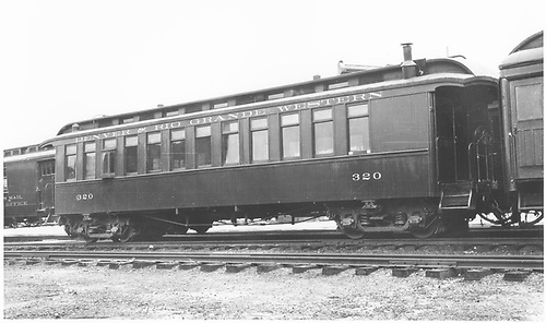 Freshly painted coach #320 at Durango.<br /> D&amp;RGW  Durango, CO  Taken by Moody, L. W. - 9/1947