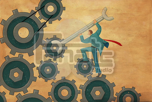 Illustrative image of businessman repairing gears with wrench representing business troubleshooting