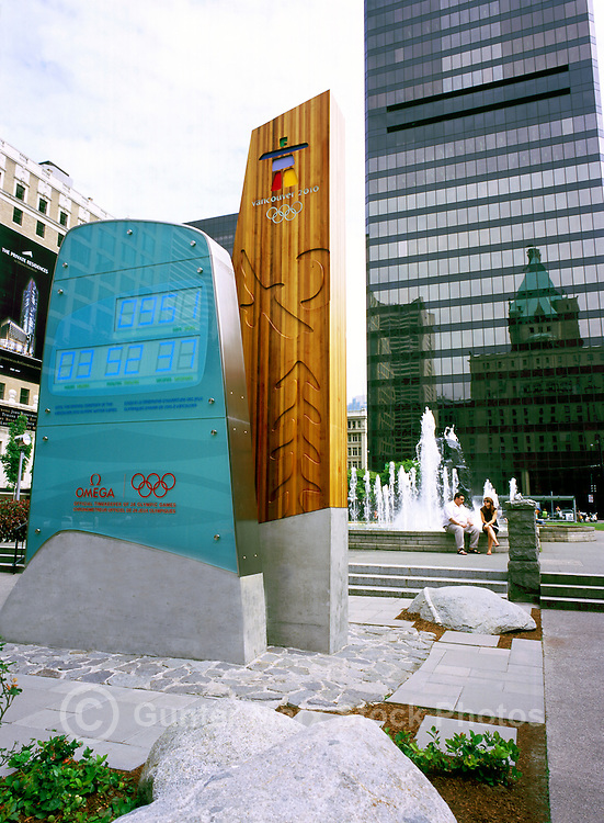 Vancouver, BC, British Columbia, Canada - the Vancouver 2010 Countdown Clock to the Winter Olympics - Editorial Use Only