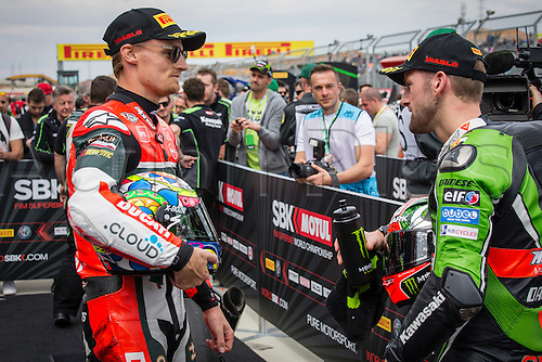 03.04.2016. Motorland, Aragon, Spain, World Championship Motul FIM of Superbikes.Chaz Davies #7, Ducati 1199 Panigale R rider of Superbike  and Tom Sykes #66, Kawasaki ZX-10R rider of Superbike  celebrate after the Race  in the World Championship Motul FIM of Superbikes from the Circuito de Motorland.