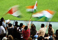 India fans wave flags during 2nd Twenty20 cricket match match between New Zealand Black Caps and West Indies at Westpac Stadium, Wellington, New Zealand on Friday, 27 February 2009. Photo: Dave Lintott / lintottphoto.co.nz